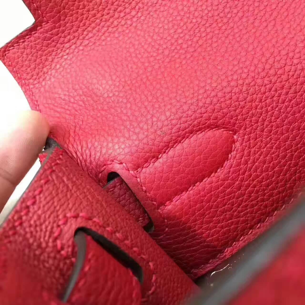 爱马仕凯莉包 Kelly 28cm Togo 法国原产小牛皮 Q5 Rouge Casaqbe 中国红 金扣