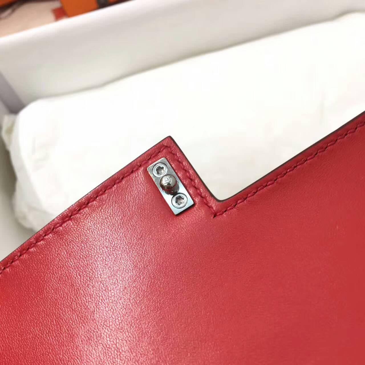 插销包手枪包 爱马仕全球同步发售 Verrou 17cm Chevre Mysore 法国原产山羊皮 Q5 Rouge Casaqbe 中国红 银扣