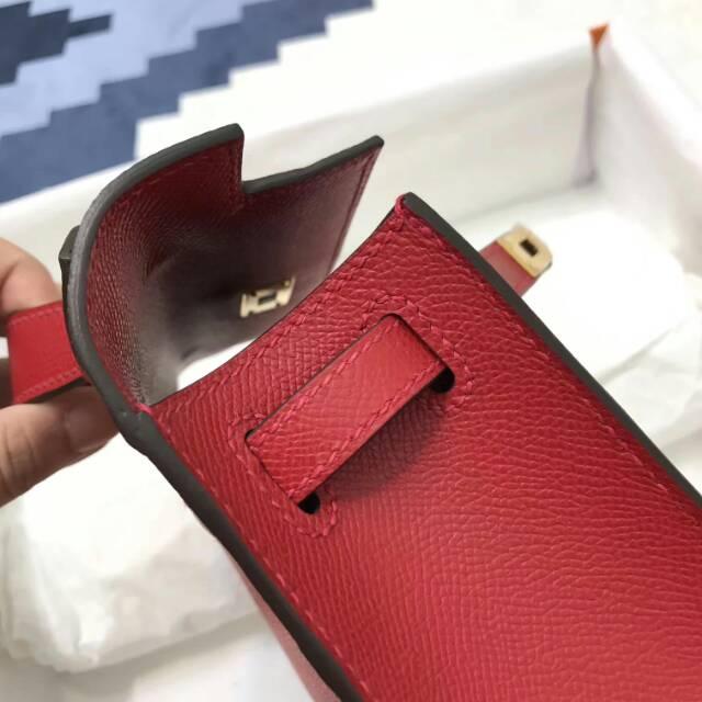 爱马仕包包 stock 22kelly pochette epsom皮 Q5 Rouge Casaqbe 中国红 金扣 进口法国蜡线手工缝制