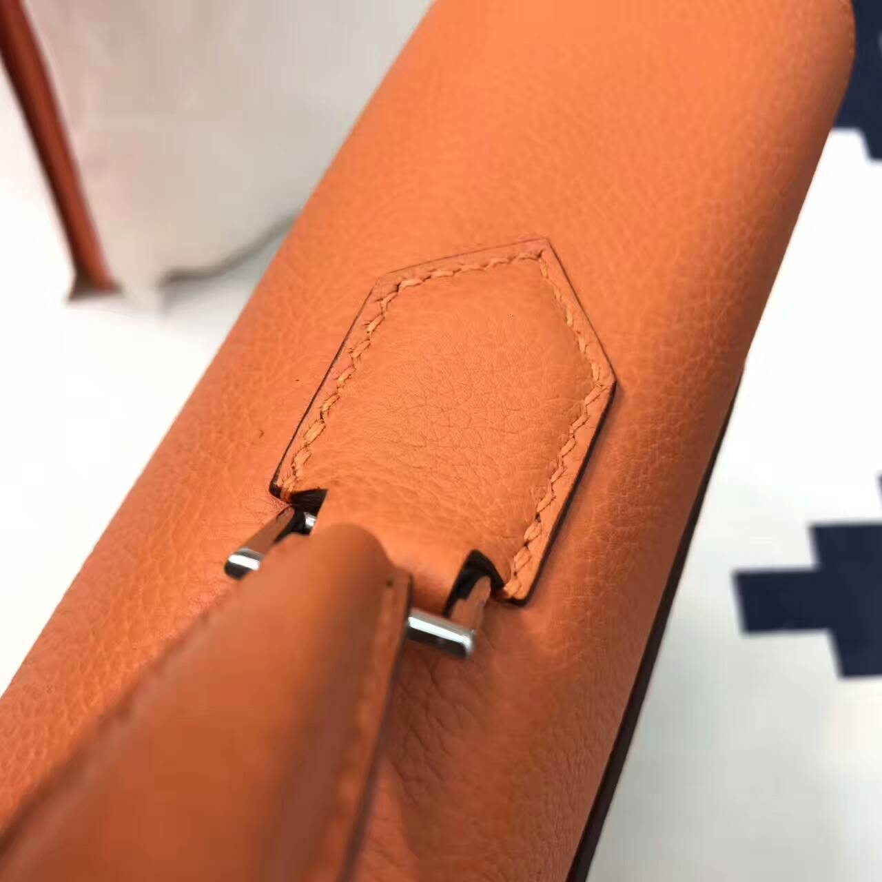 爱马仕男包 38Kelly 男公文包 Togo皮 CC93 Orange 橙色 蜡线手工缝制