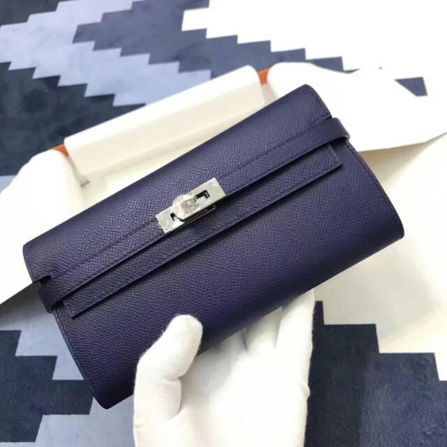 爱马仕Kelly long 21.5cm epsom CC73 Blue Saphir 宝石蓝 银扣 手缝蜡线 看得见的工艺