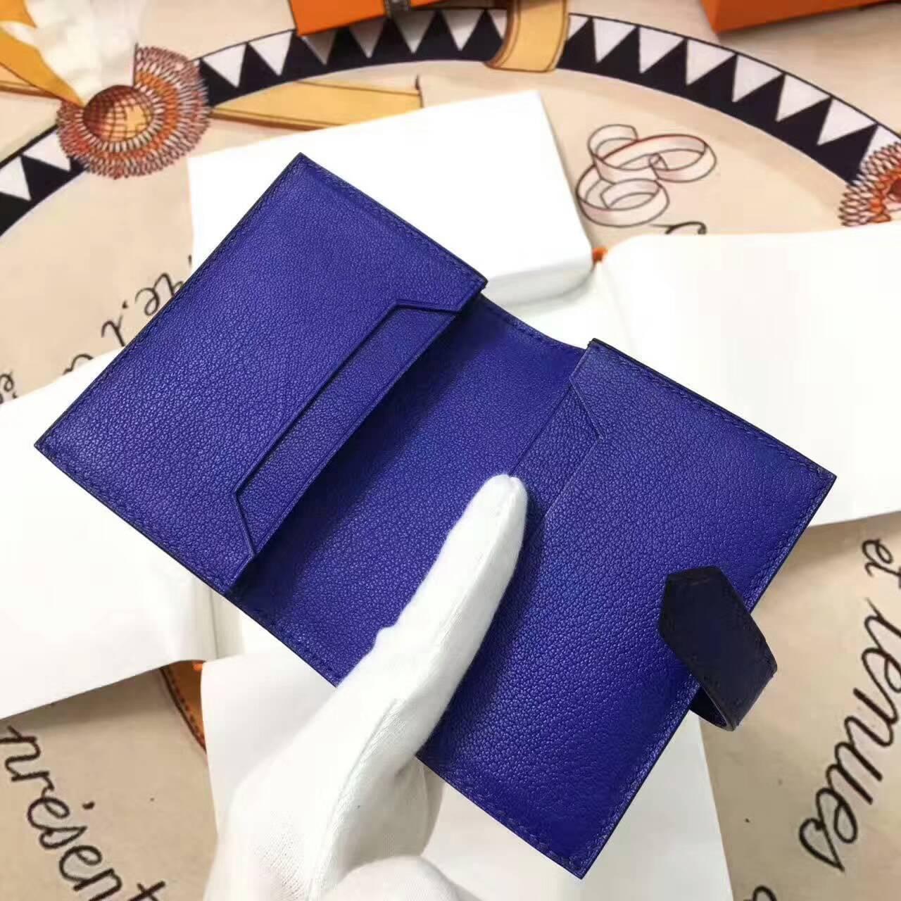 爱马仕卡包 鸵鸟皮 电光蓝 银扣 手工蜡线 时尚又实用