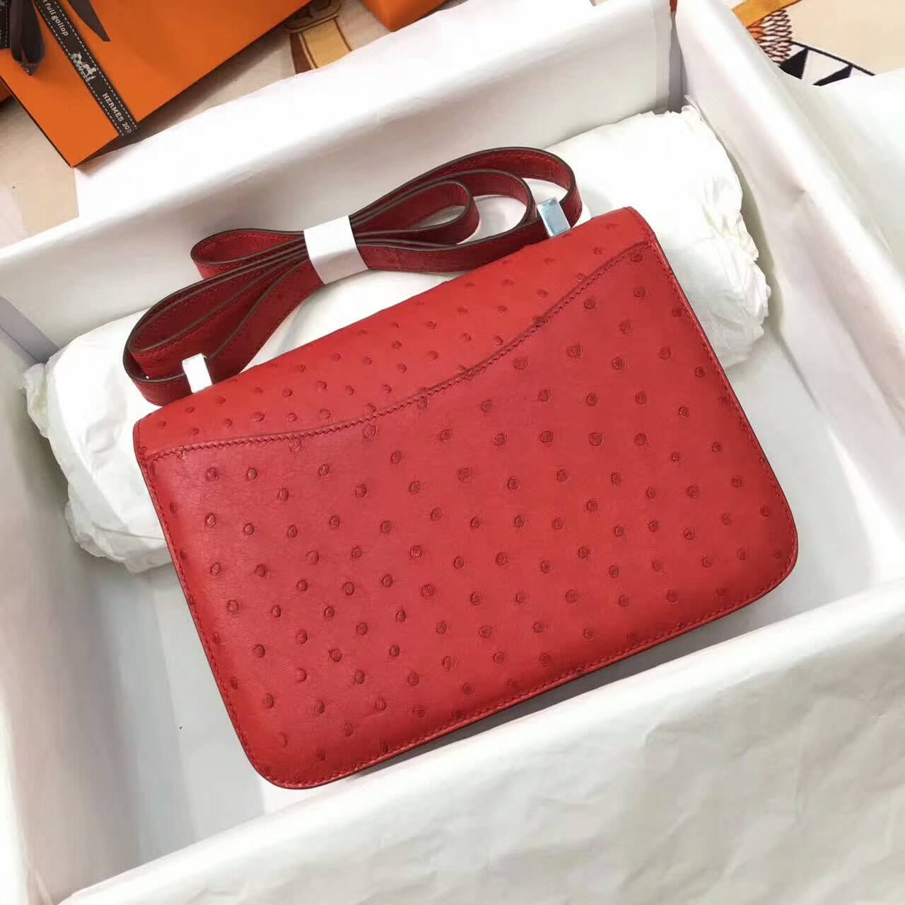 爱马仕空姐包 Constance 23cm Ostrich Leather 南非原产KK级鸵鸟皮 Q5 Rouge Casaqbe 中国红 银扣