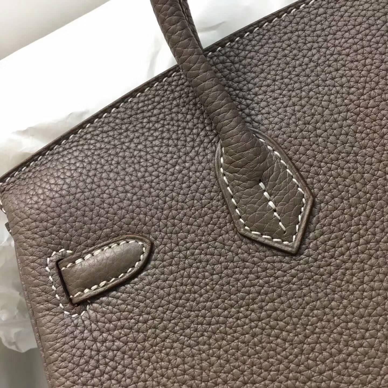 爱马仕包包 铂金包Birkin 25cm Clemence 法国原产Tc皮 18 Etoupe 大象灰 金扣