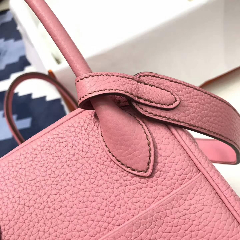 爱马仕包包 Lindy包 26cm Togo皮 5P Pink 樱花粉 银扣 粉嫩粉嫩