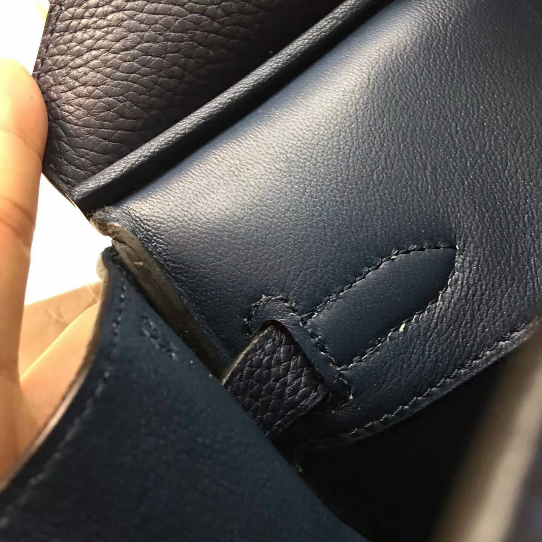 爱马仕铂金包 Birkim 30cm Clemence 法国原产Tc皮 73 Blue Saphir 宝石蓝 金扣