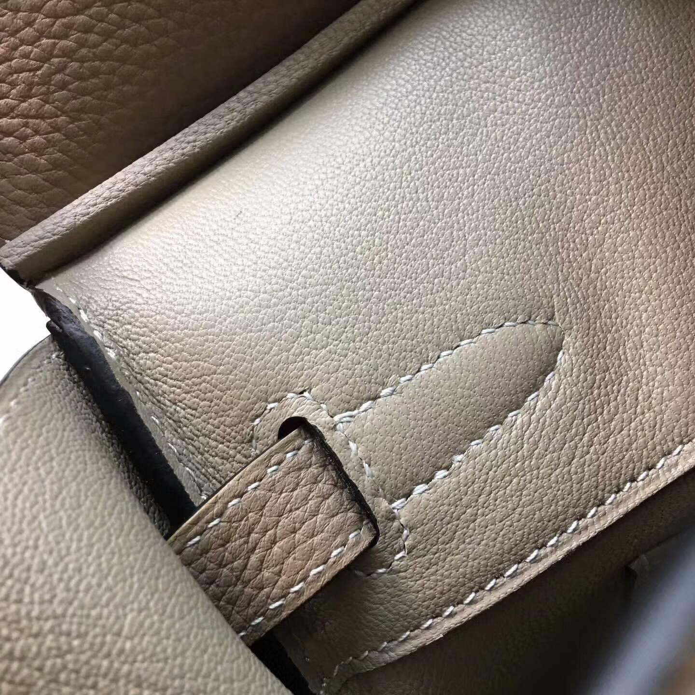 爱马仕铂金包 Birkim 30cm Clemence 法国原产Tc皮 81 Gris Tourterle 斑鸠灰 金扣