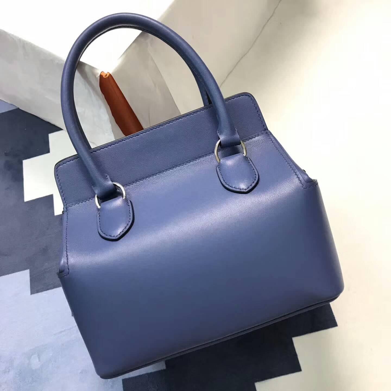 爱马仕全球同步发售 20Toolbox 牛奶包 小胖墩 进口swift皮 R2 Blue Agate 玛瑙蓝 银扣