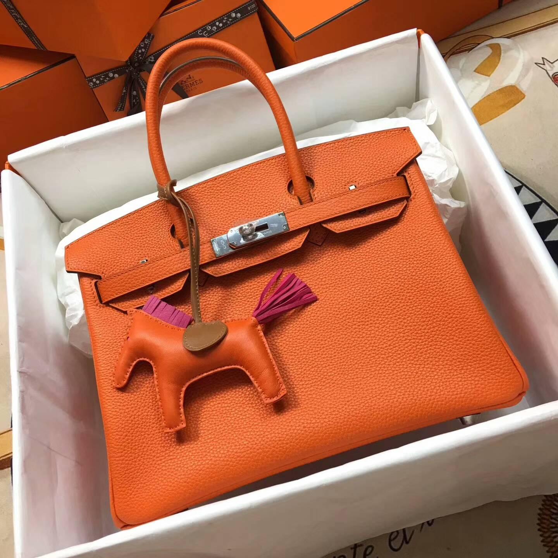 爱马仕铂金包 Birkim 30cm Clemence 法国原产Tc皮 93 Orange 橙色 银扣