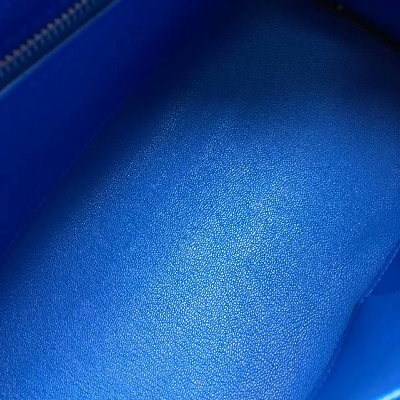 爱马仕Kelly凯丽包28cm 全球代发 Clemence 法国原产Tc皮 7Q Mykonos 希腊蓝 银扣