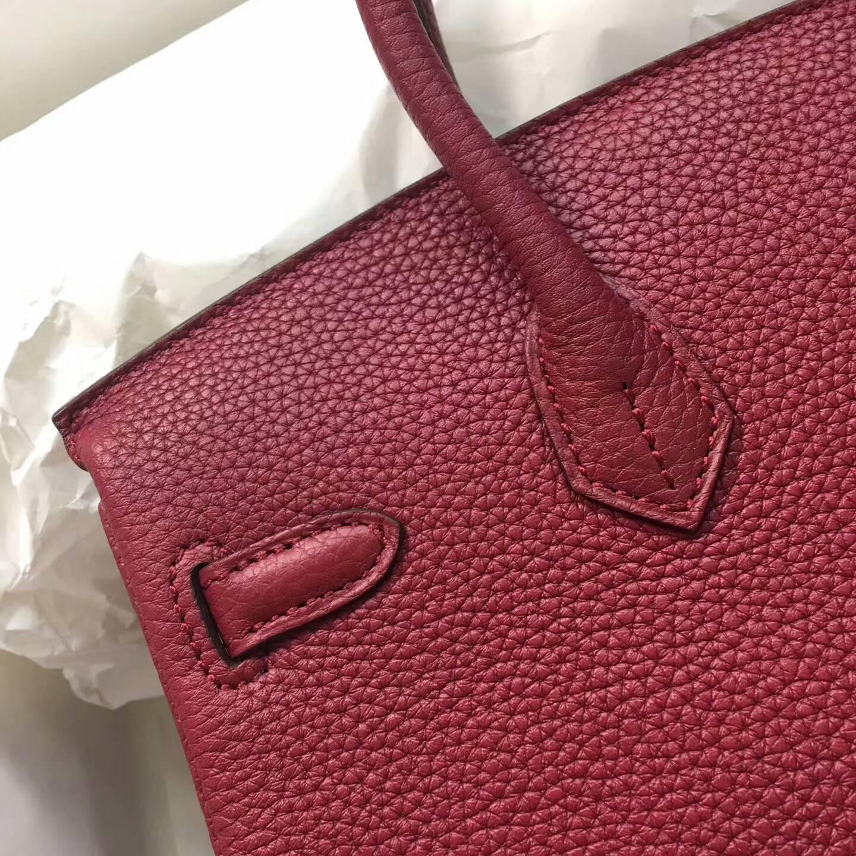 爱马仕包包 铂金包Birkin 25cm Clemence 法国原产Tc皮 B5 Rubis 宝石红 银扣