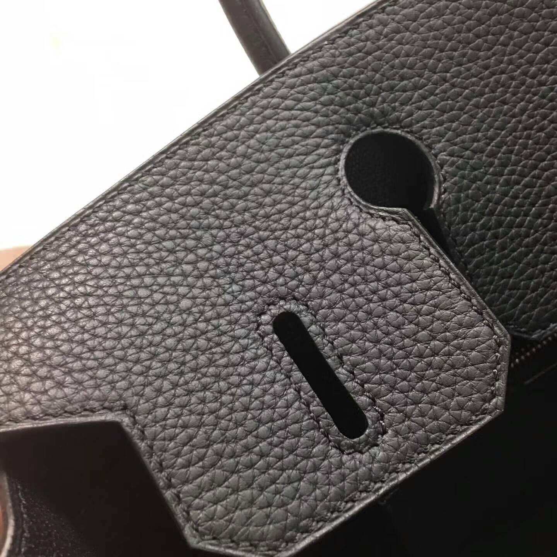 爱马仕铂金包 Birkim 30cm Clemence 法国原产Tc皮 89 Nior 黑色 银扣