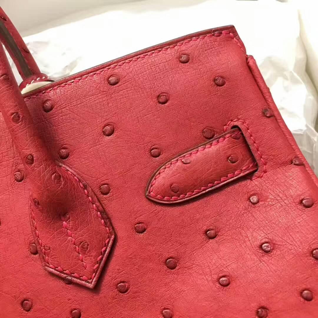 爱马仕纯手工定制 Birkin 30cm Ostrich Leather 南非原产KK级鸵鸟皮 Q5 Rouge Casaqbe 中国红 金扣