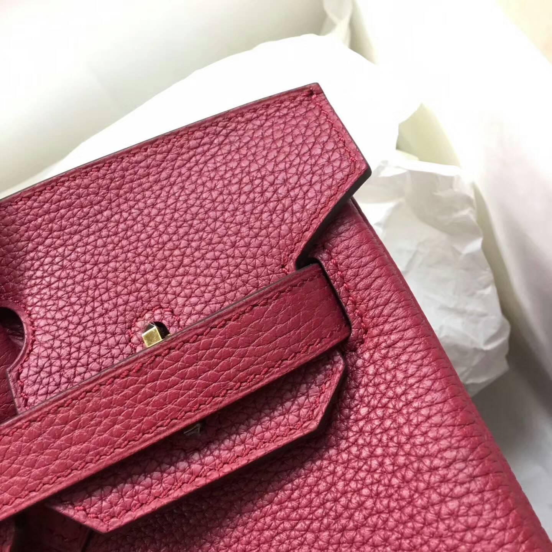 爱马仕铂金包 Birkim 30cm Clemence 法国原产Tc皮 B5 Rubis 宝石红 金扣