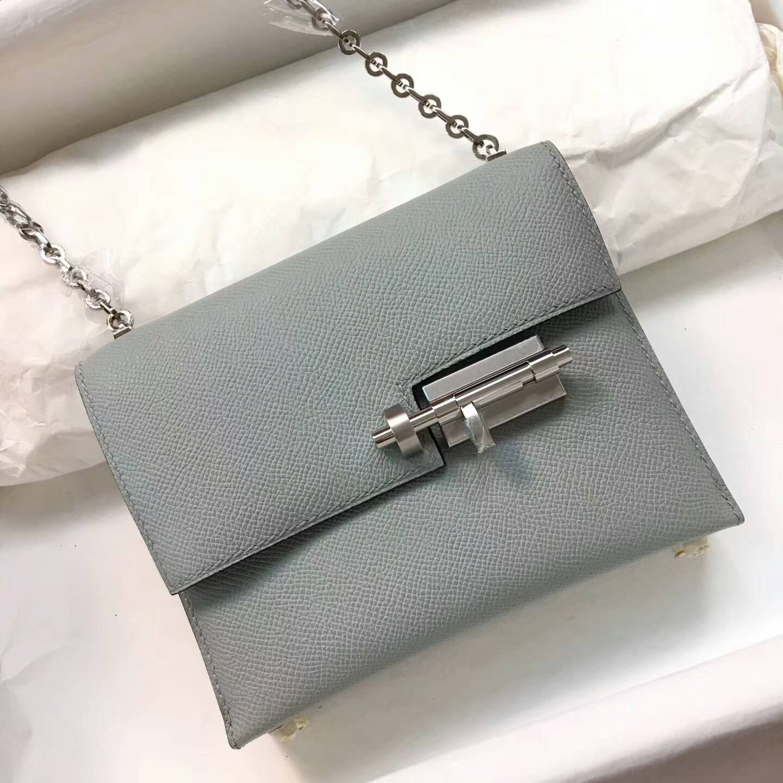 Hermes插销包手枪包 Verrou 17cm Epsom 法国原产掌纹皮 8U Glacierw 冰川蓝 冰川灰
