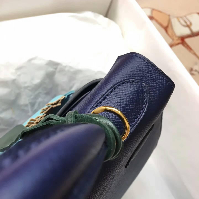 爱马仕Kelly凯丽包28cm 全球代发 Epsom 法国原产掌纹皮 73 Blue Saphir 宝石蓝 金扣