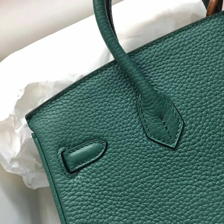 爱马仕包包 铂金包Birkin 25cm Clemence 法国原产Tc皮 Z6 Malachite 孔雀绿 银扣