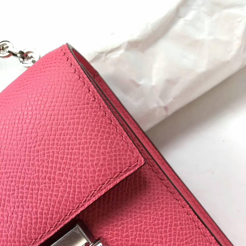 Hermes插销包手枪包 Verrou 17cm Epsom 法国原产掌纹皮 8W Rose Azalee 唇膏粉