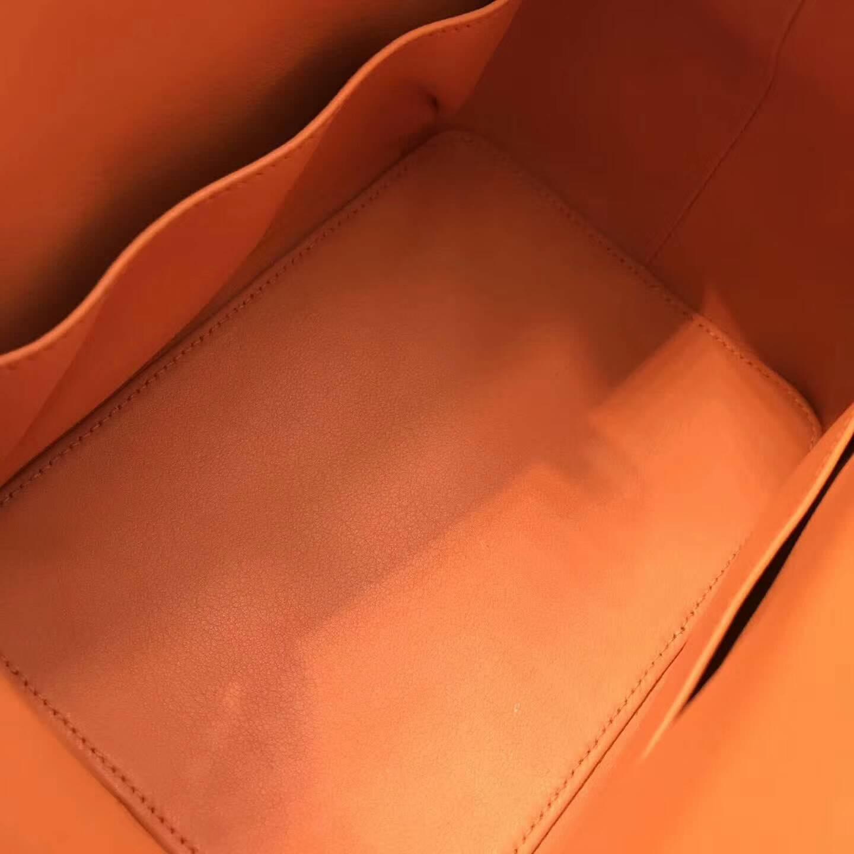 爱马仕全球同步发售 20Toolbox 牛奶包 小胖墩 进口swift皮 CC93 Orange 橙色 银扣
