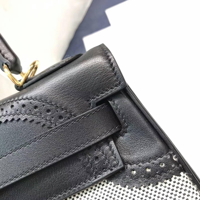 爱马仕包包批发 Ghillies 28cm Swift拼帆布 黑色 金扣