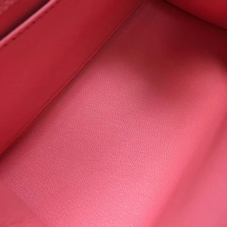 爱马仕包包 Kelly mini 20cm Epsom 法国原产掌纹皮 1Q Rose Conpetti 奶昔粉 银扣