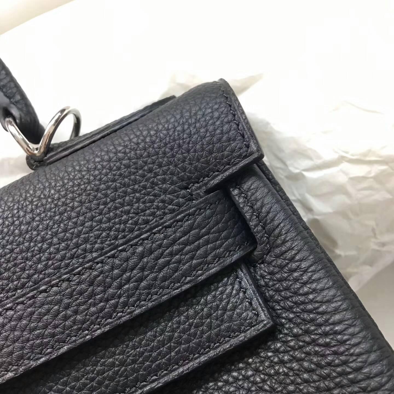 爱马仕Kelly凯丽包28cm 全球代发 Clemence 法国原产Tc皮 89 Nior 黑色 银扣