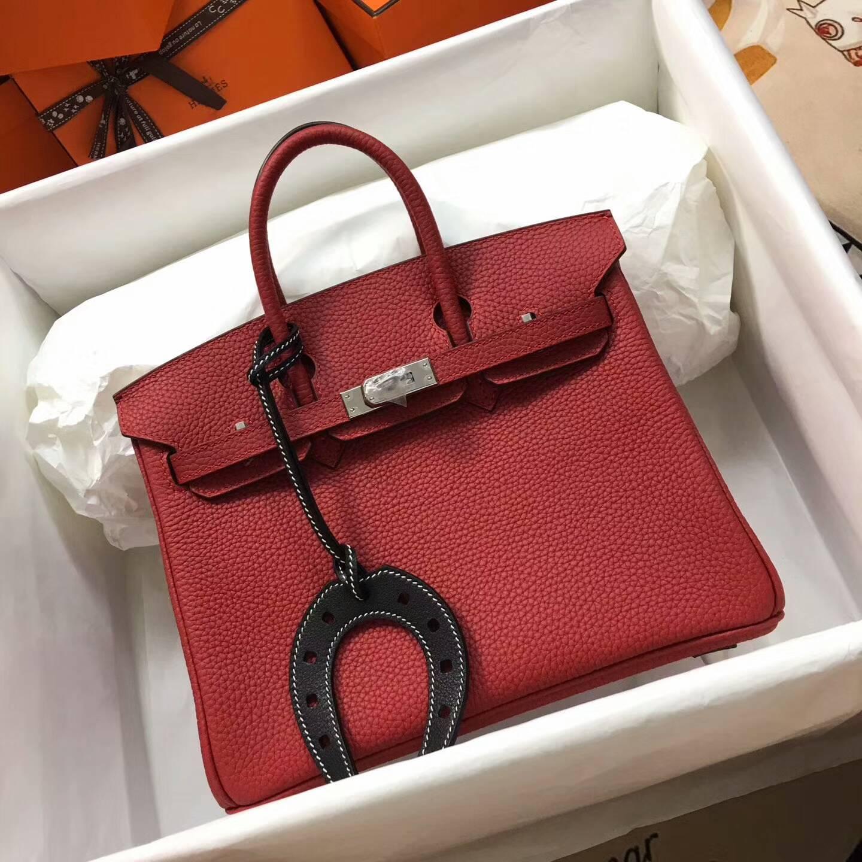 爱马仕包包 铂金包Birkin 25cm Clemence 法国原产Tc皮 Q5 Rouge Casaqbe 中国红 银扣