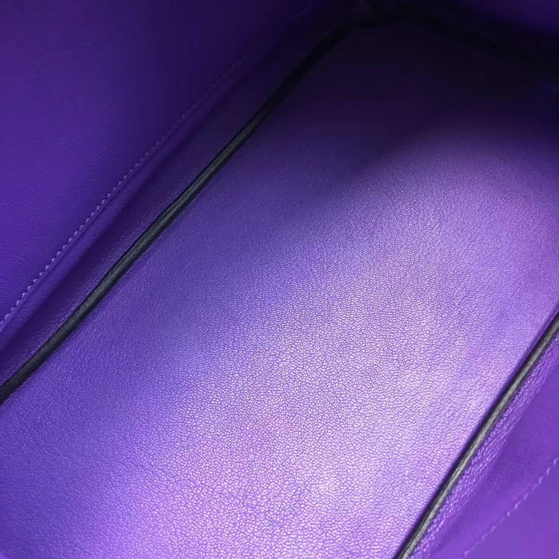 爱马仕铂金包 Birkim 30cm Clemence 法国原产Tc皮 9W Crocus 番茄花紫 新梦幻紫 金扣
