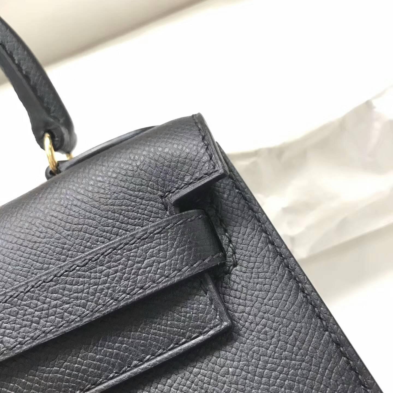 爱马仕包包 Kelly mini 20cm Epsom 法国原产掌纹皮 89 Nior 黑色 金扣