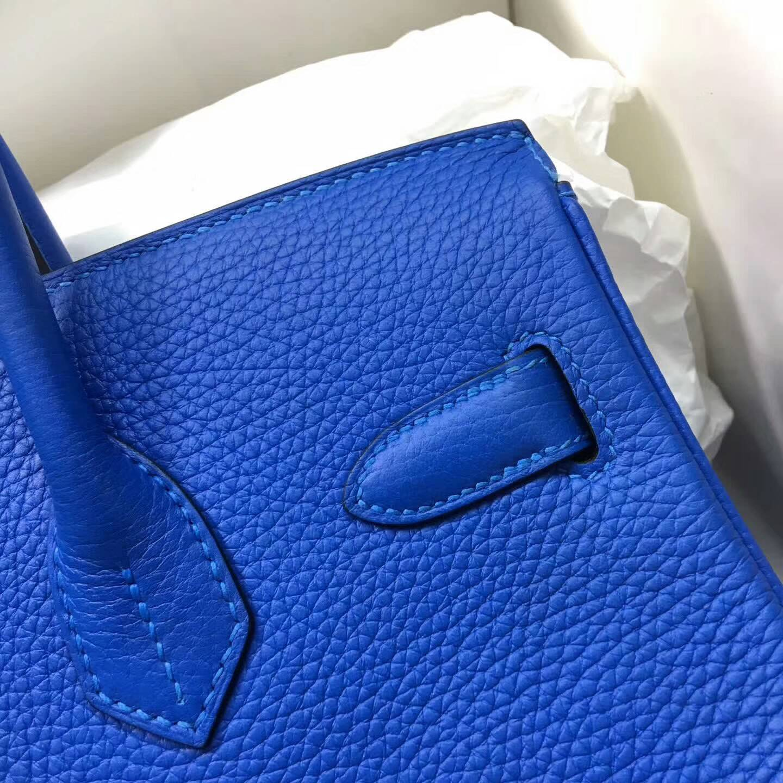 Hermes爱马仕铂金包 Birkin 30cm Clemence 法国原产Tc皮 7Q Mykonos 希腊蓝 银扣