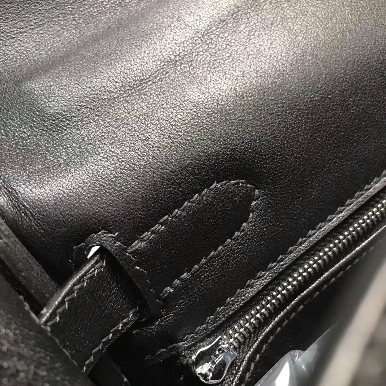 爱马仕包包批发 Kelly Lakis 32cm Swift皮黑色 银扣