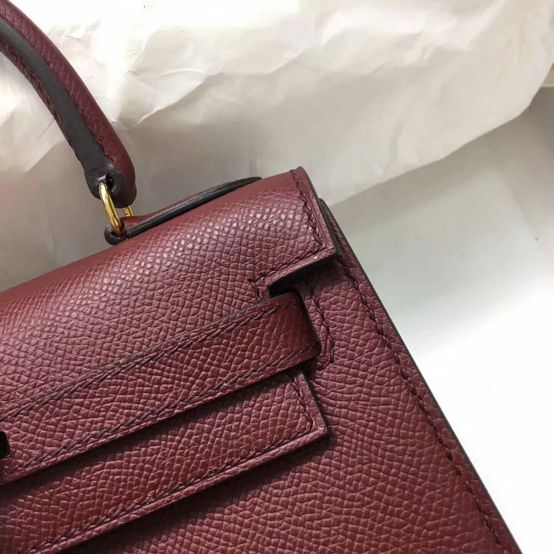 爱马仕包包 Kelly mini 20cm Epsom 法国原产掌纹皮 57 Bordeaux 波尔多酒红 金扣