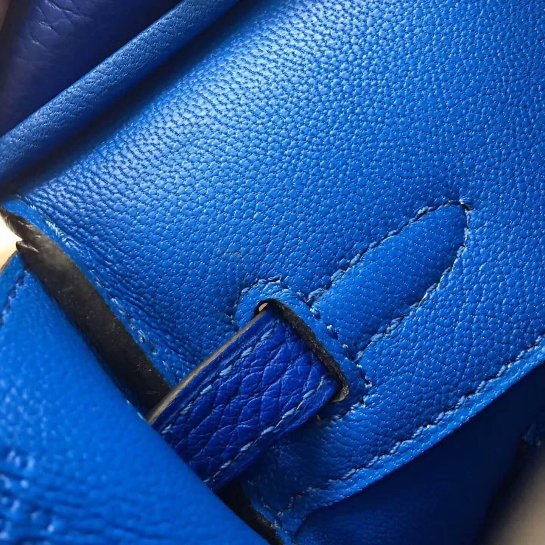 爱马仕包包 铂金包Birkin 25cm Clemence 法国原产Tc皮 7Q Mykonos 希腊蓝 金扣