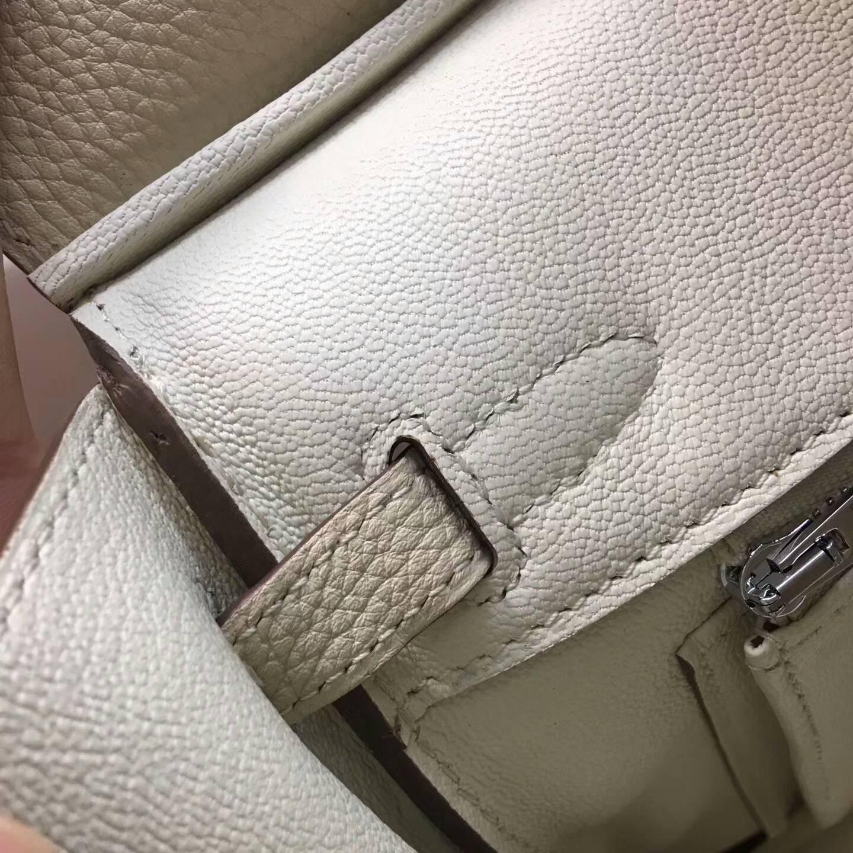 爱马仕包包 铂金包Birkin 25cm Clemence 法国原产Tc皮 10 Craie 奶昔白 银扣