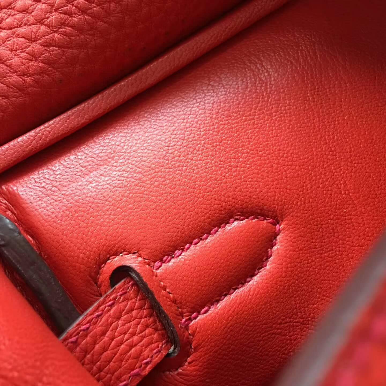 Hermes爱马仕铂金包 Birkin 30cm Clemence 法国原产Tc皮 Q5 Rouge Casaqbe 中国红 银扣