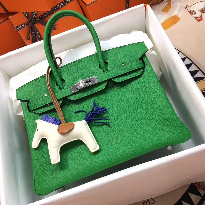 Hermes爱马仕铂金包 Birkin 30cm Clemence 法国原产Tc皮 1K Bamdou 竹子绿 银扣