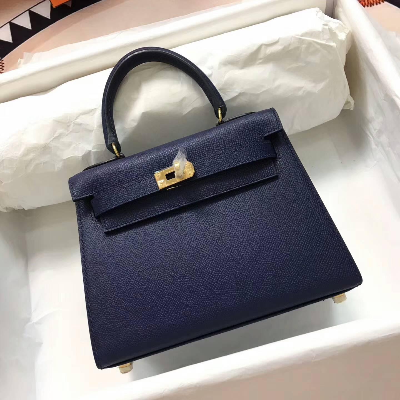 爱马仕包包 Kelly mini 20cm Epsom 法国原产掌纹皮 73 Blue Saphir 宝石蓝 金扣