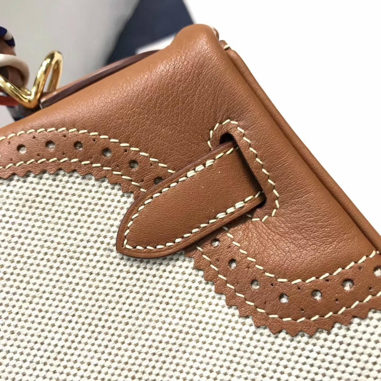 爱马仕包包批发 Ghillies 28cm Swift拼帆布 金棕色 金扣