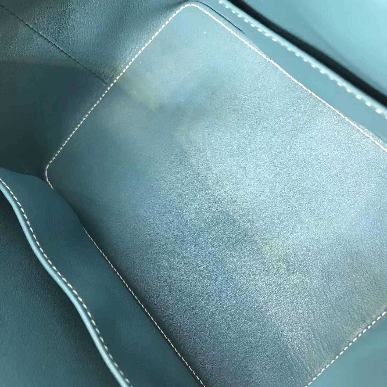 爱马仕全球同步发售 20Toolbox 牛奶包 小胖墩 进口swift皮 CC75 Blue Jean 牛仔蓝 银扣