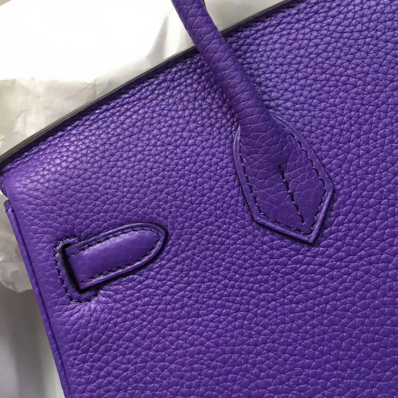 爱马仕包包 铂金包Birkin 25cm Clemence 法国原产Tc皮 9W Crocus 番茄花紫 金扣