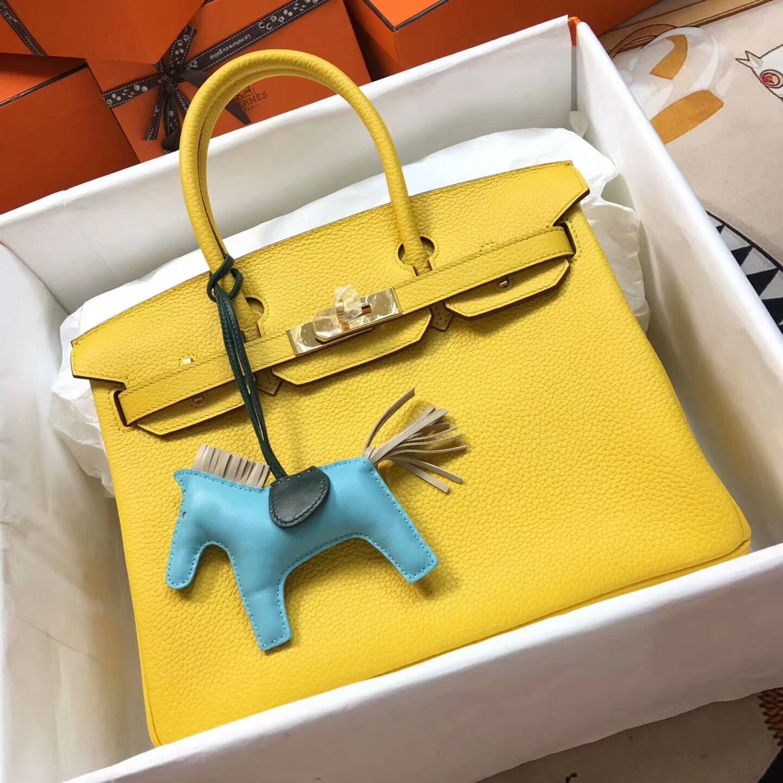 爱马仕铂金包 Birkim 30cm Clemence 法国原产Tc皮 9H Soleil 亮黄色 金扣