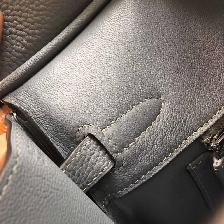 爱马仕铂金包 Birkim 30cm Clemence 法国原产Tc皮 J7 Blue Lin 亚麻蓝 银扣