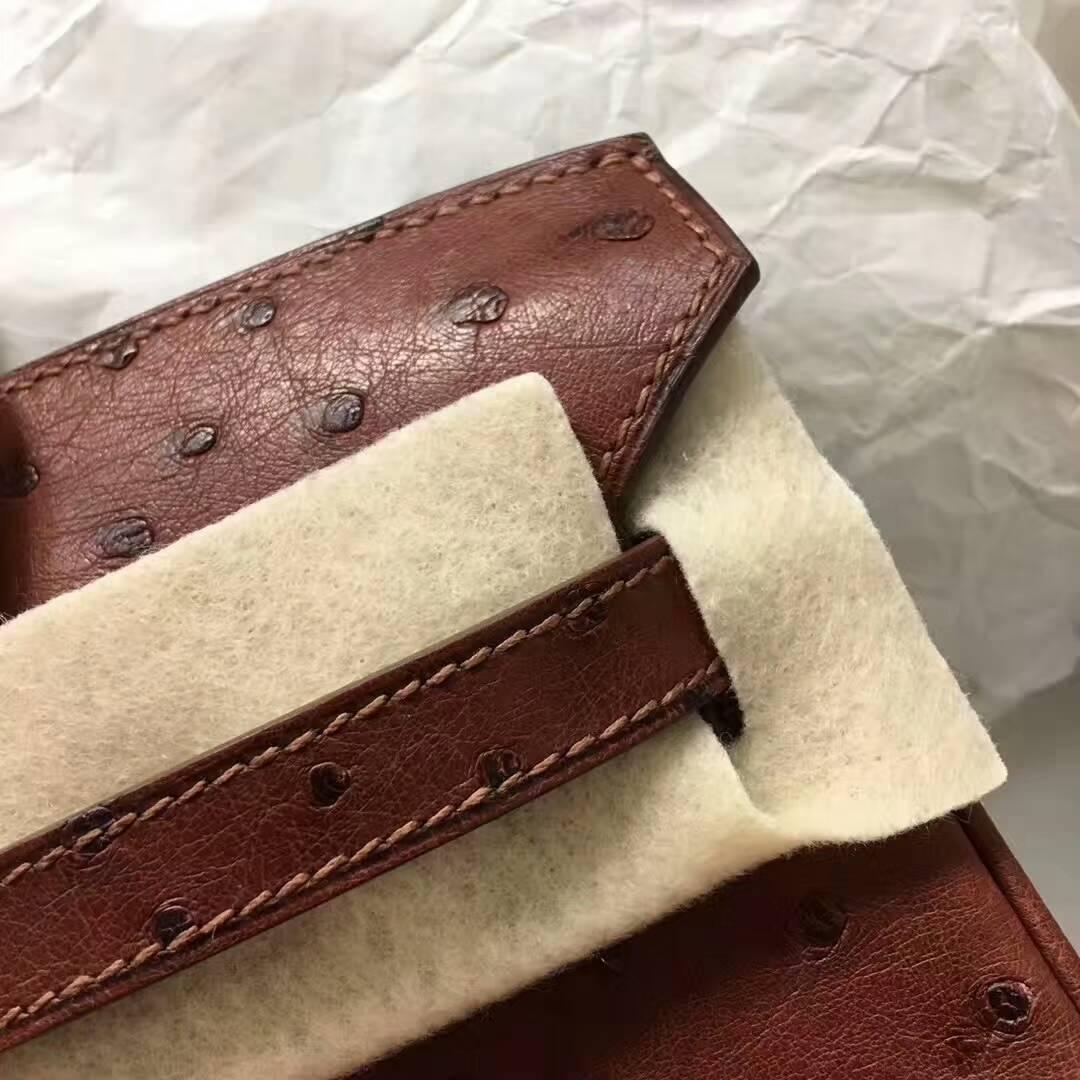 爱马仕纯手工定制 Birkin 25cm Ostrich Leather 南非原产KK级鸵鸟皮 6C Cuiuvr 古铜色 金扣