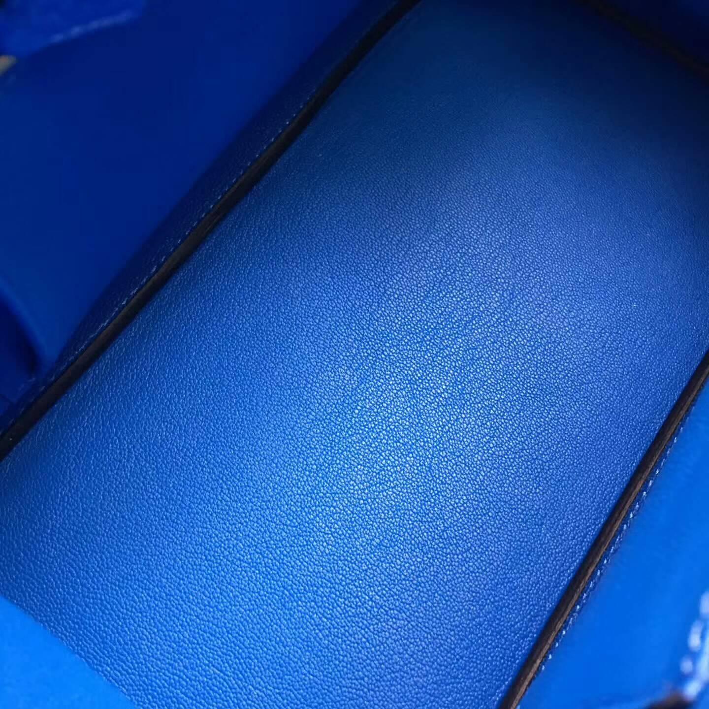 爱马仕铂金包 Birkim 30cm Clemence 法国原产Tc皮 7Q Mykonos 希腊蓝 金扣