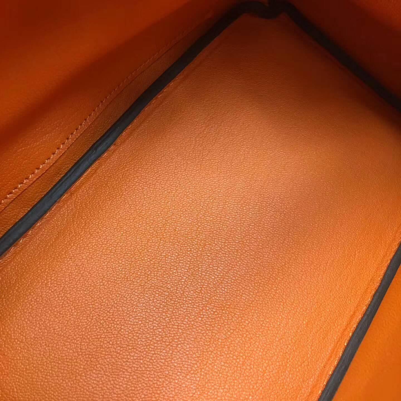 爱马仕包包 铂金包Birkin 25cm Clemence 法国原产Tc皮 93 Orange 橙色 银扣