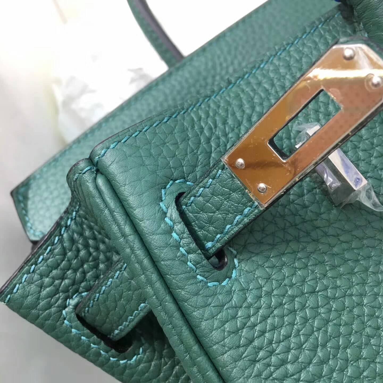 Hermes爱马仕铂金包 Birkin 30cm Clemence 法国原产Tc皮 Z6 Malachite 孔雀绿 银扣