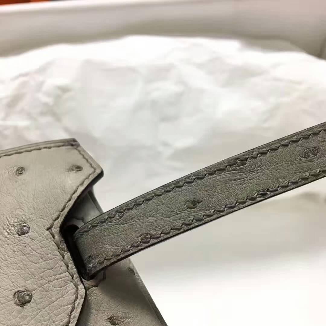 爱马仕纯手工定制 Birkin 25cm Ostrich Leather 南非原产KK级鸵鸟皮 4Z Gris Mouette 海鸥灰 银扣