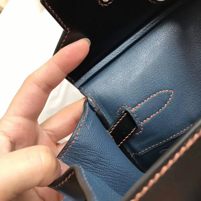 爱马仕包包批发 Ghillies 30cm Box皮黑色拼牛仔布 橙色线 银扣