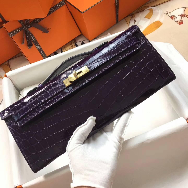 爱马仕全球同步发售 Kelly Cut 29cm Shiny Niloticus Crocodile 面两点非洲原产尼罗鳄 3W Prunoir 葡萄紫 金扣
