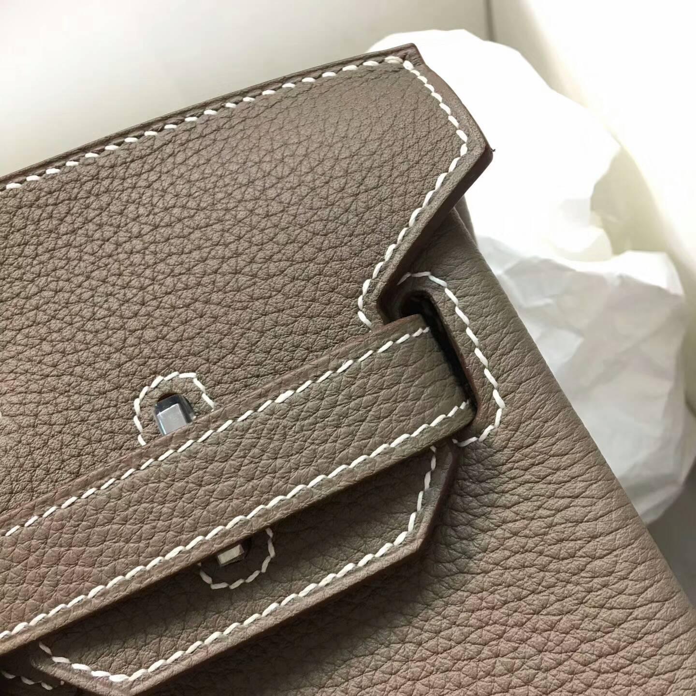Hermes爱马仕铂金包 Birkin 30cm Clemence 法国原产Tc皮 18 Etoupe 大象灰 银扣